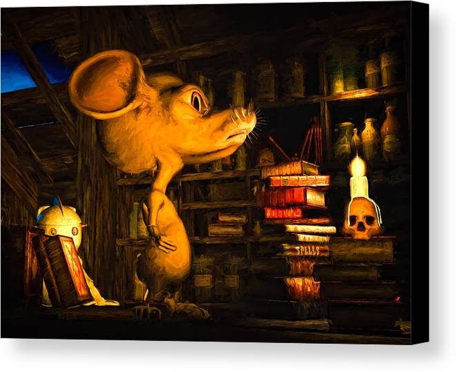 Attic Canvas Print featuring the painting Mouse In The Attic by Bob Orsillo