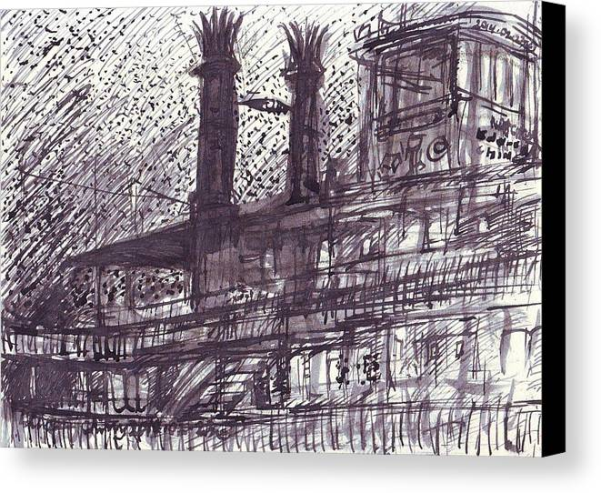 New Canvas Print featuring the drawing Natchez by Edward Ching