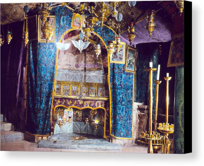 Nativity Canvas Print featuring the photograph Nativity Grotto 1950 by Munir Alawi