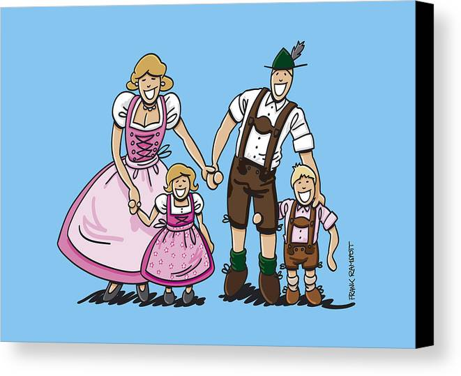 Frank Ramspott Canvas Print featuring the digital art Oktoberfest Family Dirndl And Lederhosen by Frank Ramspott