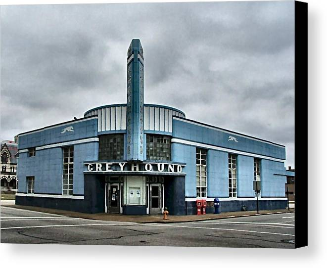 Greyhound Canvas Print featuring the photograph Old Greyhound Bus Terminal by Julie Dant