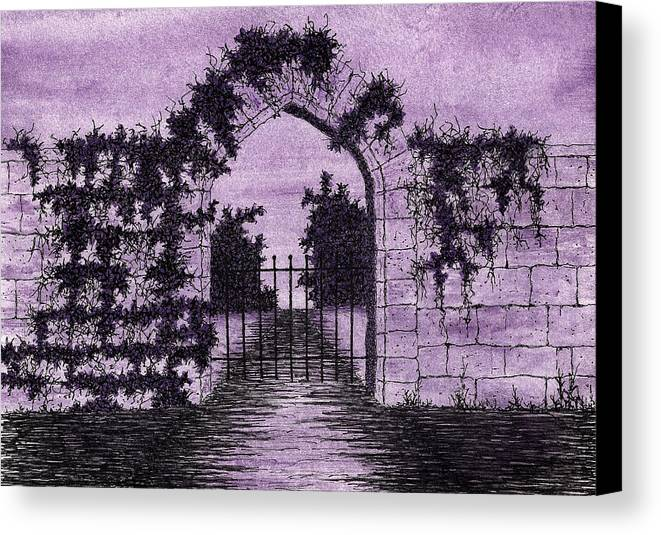 Stone Canvas Print featuring the painting Old Stone Archway by Michael Vigliotti