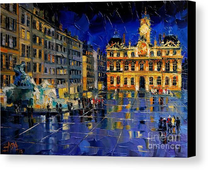 One Evening In Terreaux Square Lyon Canvas Print featuring the painting One Evening In Terreaux Square Lyon by Mona Edulesco