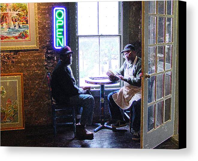 Black Canvas Print featuring the photograph Open For Business by Suzanne Gaff