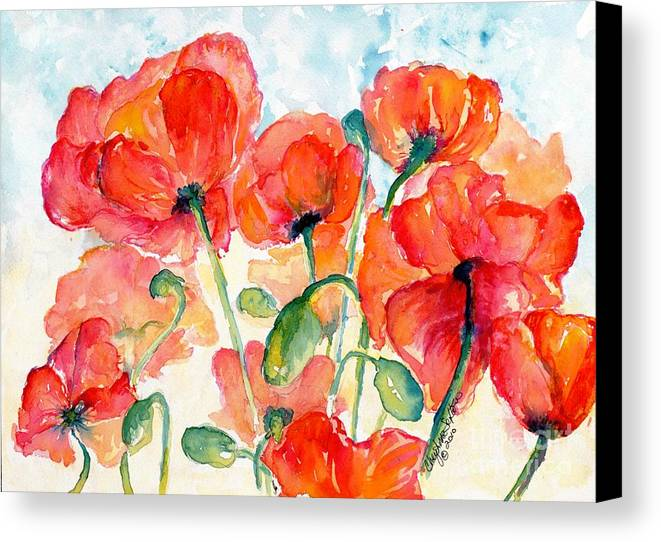 Orange Canvas Print featuring the painting Orange Field Of Poppies Watercolor by CheyAnne Sexton