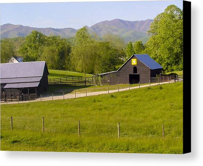 Blue Canvas Print featuring the photograph Painted Barn Quilt Two And A Half by Robert J Andler