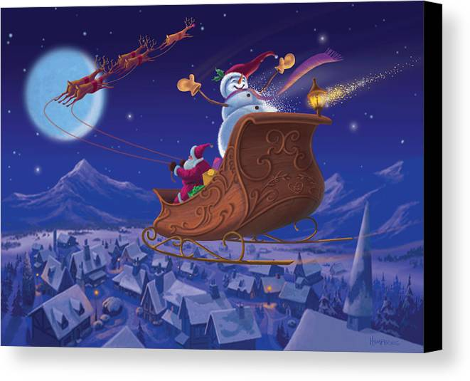Michael Humphries Canvas Print featuring the painting Santa's Helper by Michael Humphries