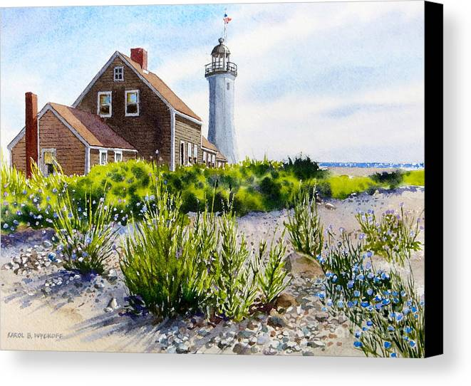 Clouds Canvas Print featuring the painting Scituate Light By Day by Karol Wyckoff