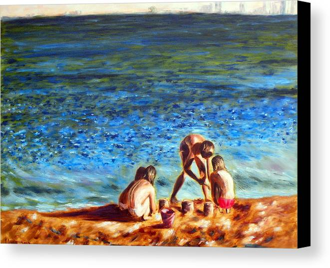 Seascape Canvas Print featuring the painting Seascape Series 3 by Uma Krishnamoorthy