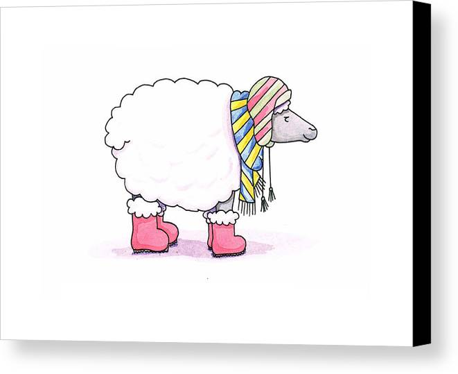 Sheep Canvas Print featuring the painting Sheep In A Scarf by Christy Beckwith