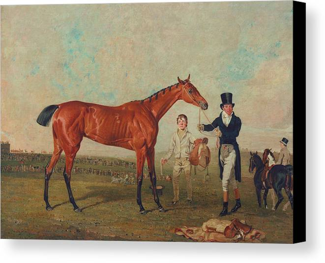 Horse Canvas Print featuring the painting Shoveller Held By Her Trainer Will Chifney by Benjamin Marshall