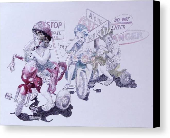Children Bicycles Kids Portraits Canvas Print featuring the painting Signsofconfusion by Tony Ruggiero