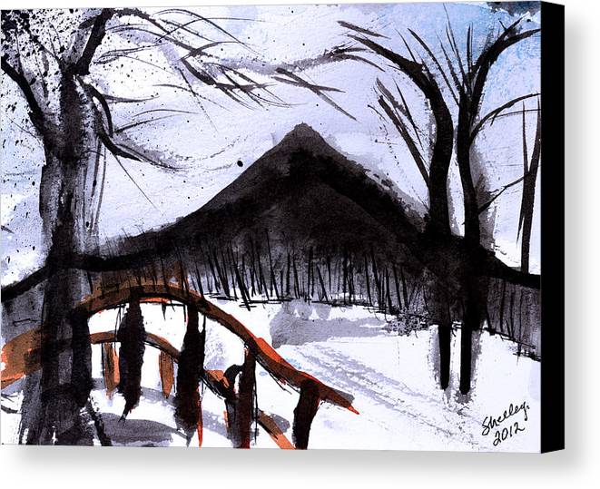 Mountain Canvas Print featuring the painting Snowy Path by Shelley Bain