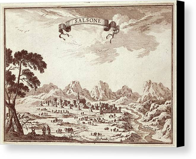 Horizontal Canvas Print featuring the photograph Spain 19th C.. Solsona. Engraving by Everett