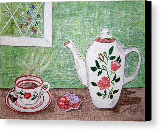 Stangl Pottery Canvas Print featuring the painting Stangl Pottery Rose Pattern by Kathy Marrs Chandler