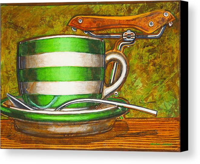 Stripes Canvas Print featuring the painting Still Life With Green Stripes And Saddle by Mark Jones