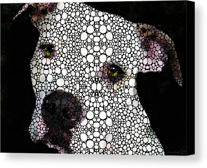 Dog Canvas Print featuring the painting Stone Rock'd Dog By Sharon Cummings by Sharon Cummings
