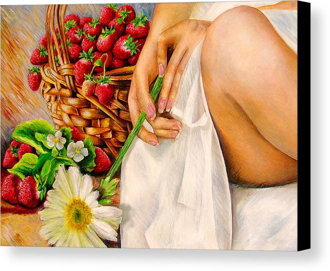 Strwberries Canvas Print featuring the painting Strawberry Woman by Nancy Almazan