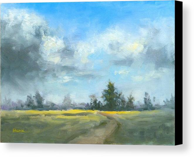 Country Canvas Print featuring the painting Sunshine And Clouds by Fiona Hooper