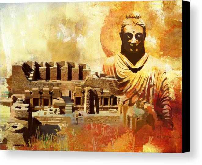 Pakistan Canvas Print featuring the painting Takhat Bahi Unesco World Heritage Site by Catf