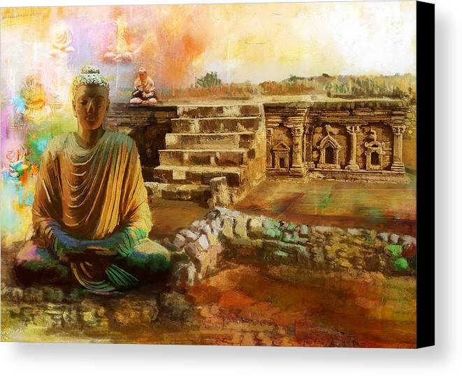 Pakistan Canvas Print featuring the painting Taxilla Unesco World Heritage Site by Catf