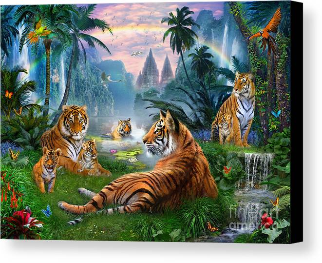 Animals Canvas Print featuring the digital art Temple Lake Tigers by Jan Patrik Krasny