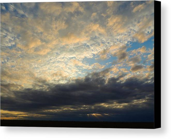 Landscape Canvas Print featuring the photograph Texas Storm Cloud Sunset by Lindy Pollard