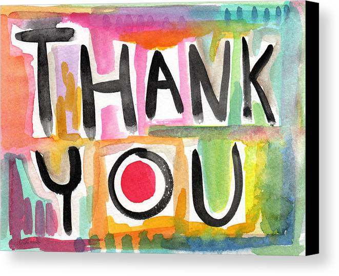Thank You Canvas Print featuring the painting Thank You Card- Watercolor Greeting Card by Linda Woods