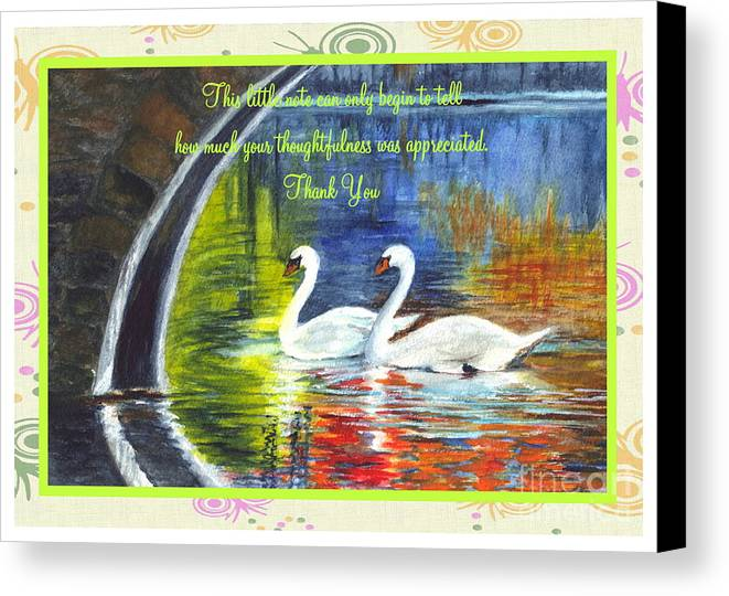 Thank You Card Canvas Print featuring the painting Thank You Sentiments-swans by Carol Wisniewski