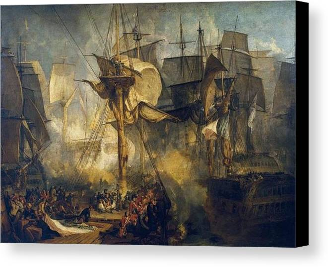1808 Canvas Print featuring the painting The Battle Of Trafalgar by JMW Turner