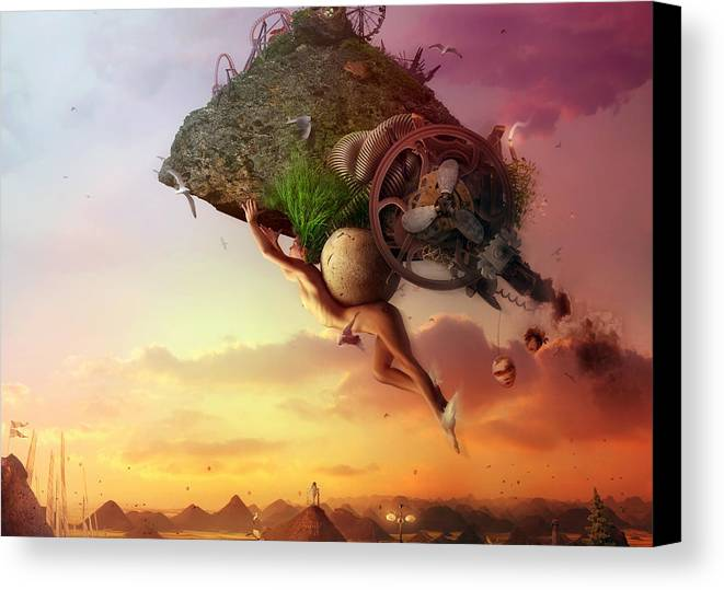 Flying Canvas Print featuring the digital art The Carnival Is Over by Mario Sanchez Nevado
