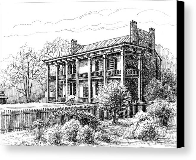 Carnton Plantation Canvas Print featuring the drawing The Carnton Plantation In Franklin Tennessee by Janet King