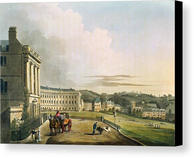 Architecture Canvas Print featuring the drawing The Crescent, From Bath Illustrated by John Claude Nattes