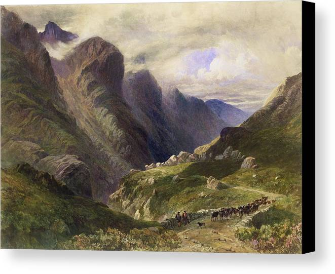Mountain Canvas Print featuring the drawing The Pass Of Glencoe, 1852 by William Bennett