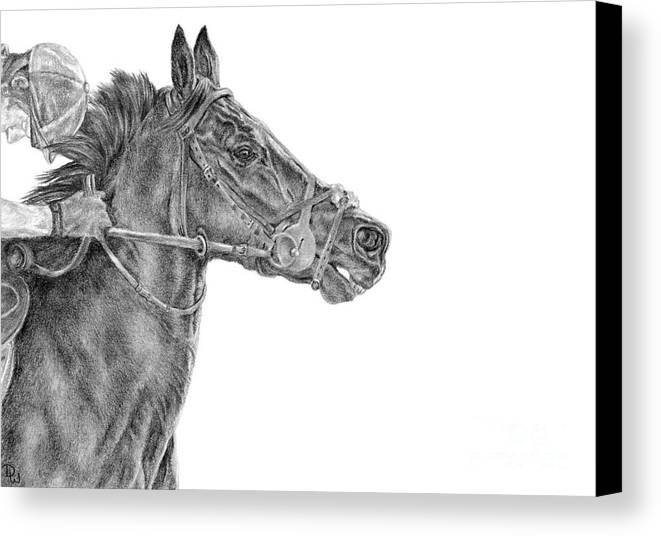 Racehorse Canvas Print featuring the drawing The Racing Game by Pencil Paws