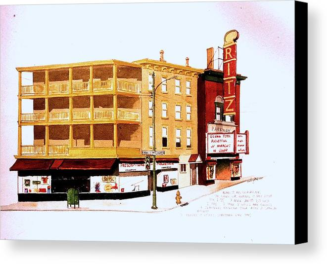 Theater Canvas Print featuring the painting The Ritz by William Renzulli