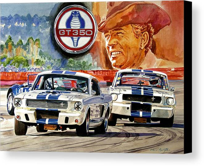 Shelby Artwork Canvas Print featuring the painting The Thundering Blue Stripe Gt-350 by David Lloyd Glover