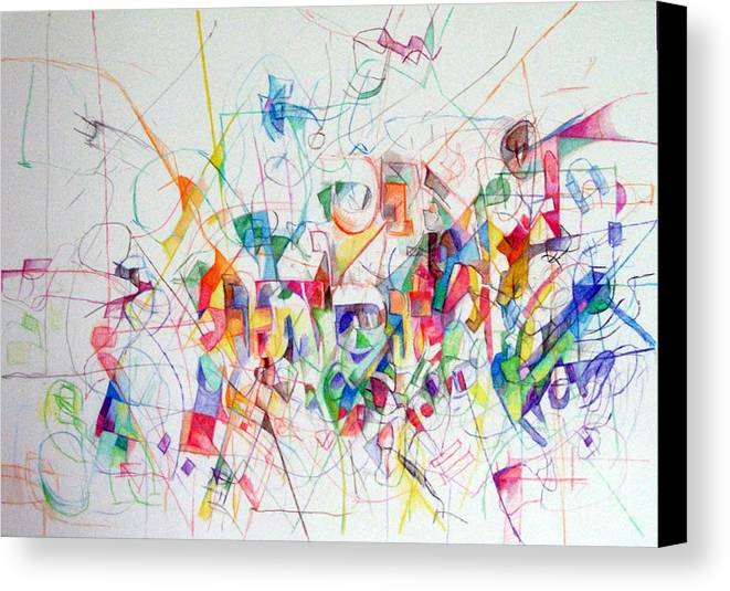 Canvas Print featuring the drawing There Is Nothing Besides Him 1 by David Baruch Wolk