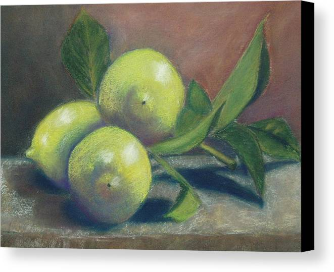 Lemons Canvas Print featuring the painting Trio Of Lemons by Ellen Minter