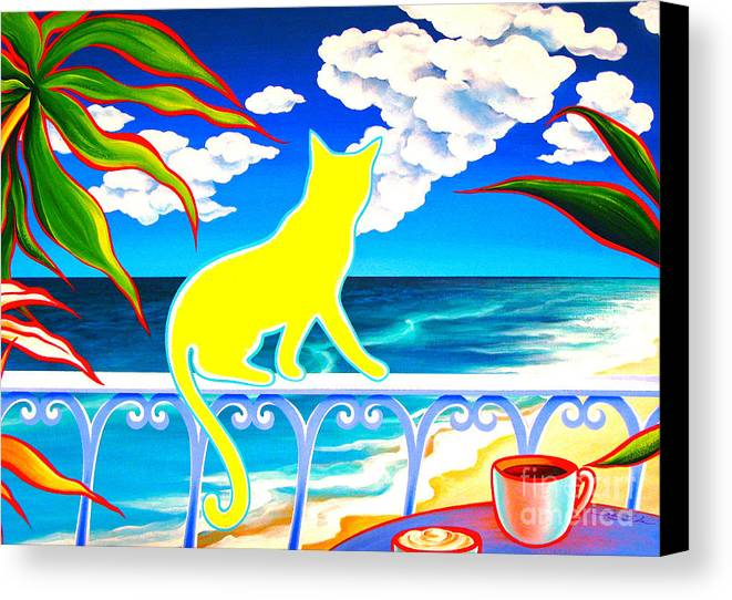 Cat Canvas Print featuring the painting Sea Breeze And Coffee by Gem S Visionary