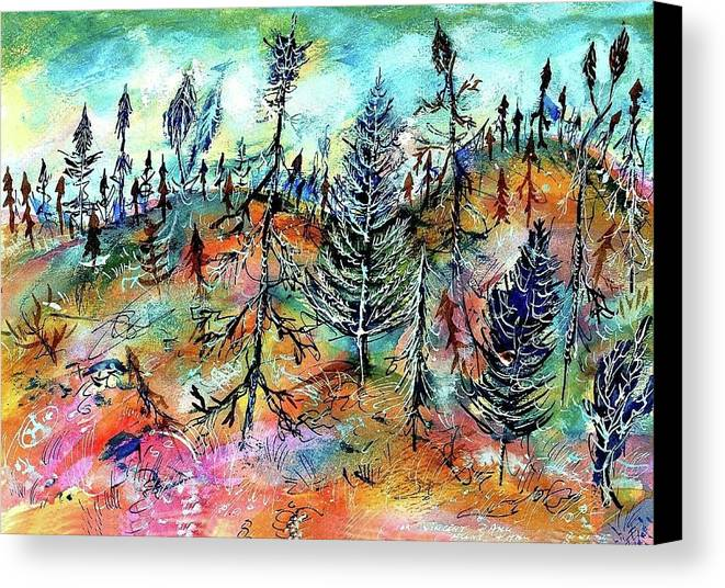 Art Canvas Print featuring the painting Quebec Taiga Landscape by Ion vincent DAnu