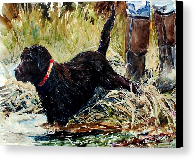 Chocolate Labrador Retreiver Canvas Print featuring the painting Water's Edge by Molly Poole
