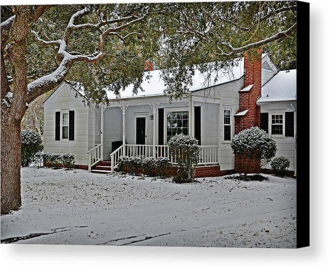 Snow Canvas Print featuring the photograph Winter Cottage by Linda Brown