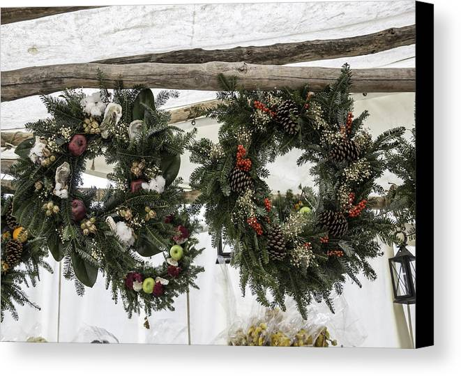 2013 Canvas Print featuring the photograph Wreaths For Sale Colonial Williamsburg by Teresa Mucha