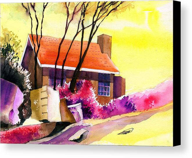 House Canvas Print featuring the painting Red House by Anil Nene