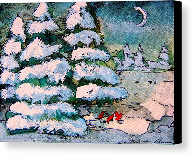 Christmas Canvas Print featuring the painting A Winter Feast by Mindy Newman