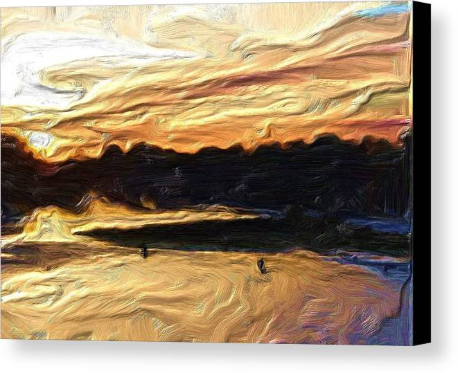 Angler Canvas Print featuring the photograph American River Sunset by Mike Durant