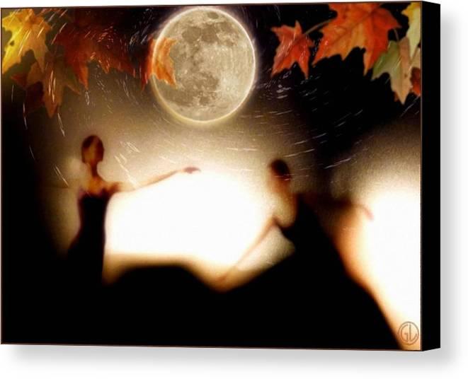 Landscape Canvas Print featuring the digital art Autumn Moon Dance by Gun Legler