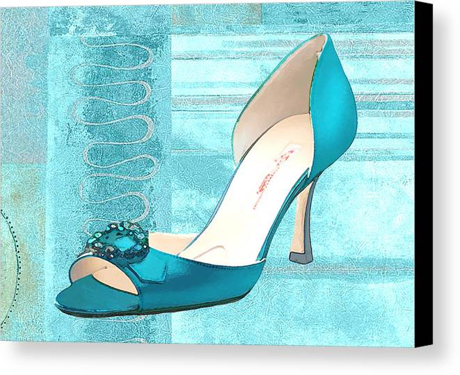 Shoes Heels Pumps Fashion Designer Feet Foot Shoe Canvas Print featuring the painting Blue Satin Ball Gown Pump by Elaine Plesser
