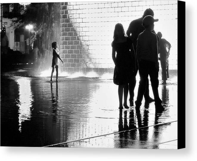 White Canvas Print featuring the photograph Child Playing In Water Fountain by Michele Stoehr